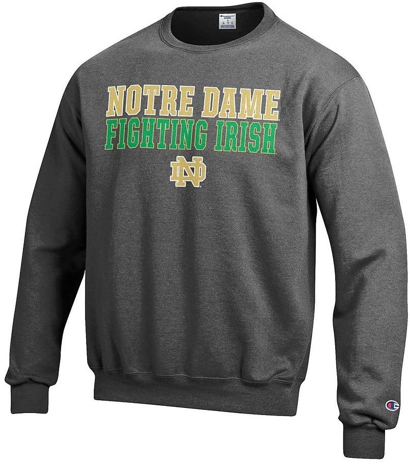 Elite Fan Shop Notre Dame Fighting Irish Crewneck Sweatshirt Charcoal