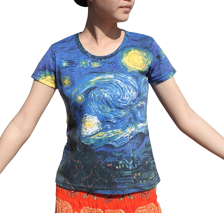 RaanPahMuang Brand Vincent Van Gogh The Starry Night Ladies T-Shirt