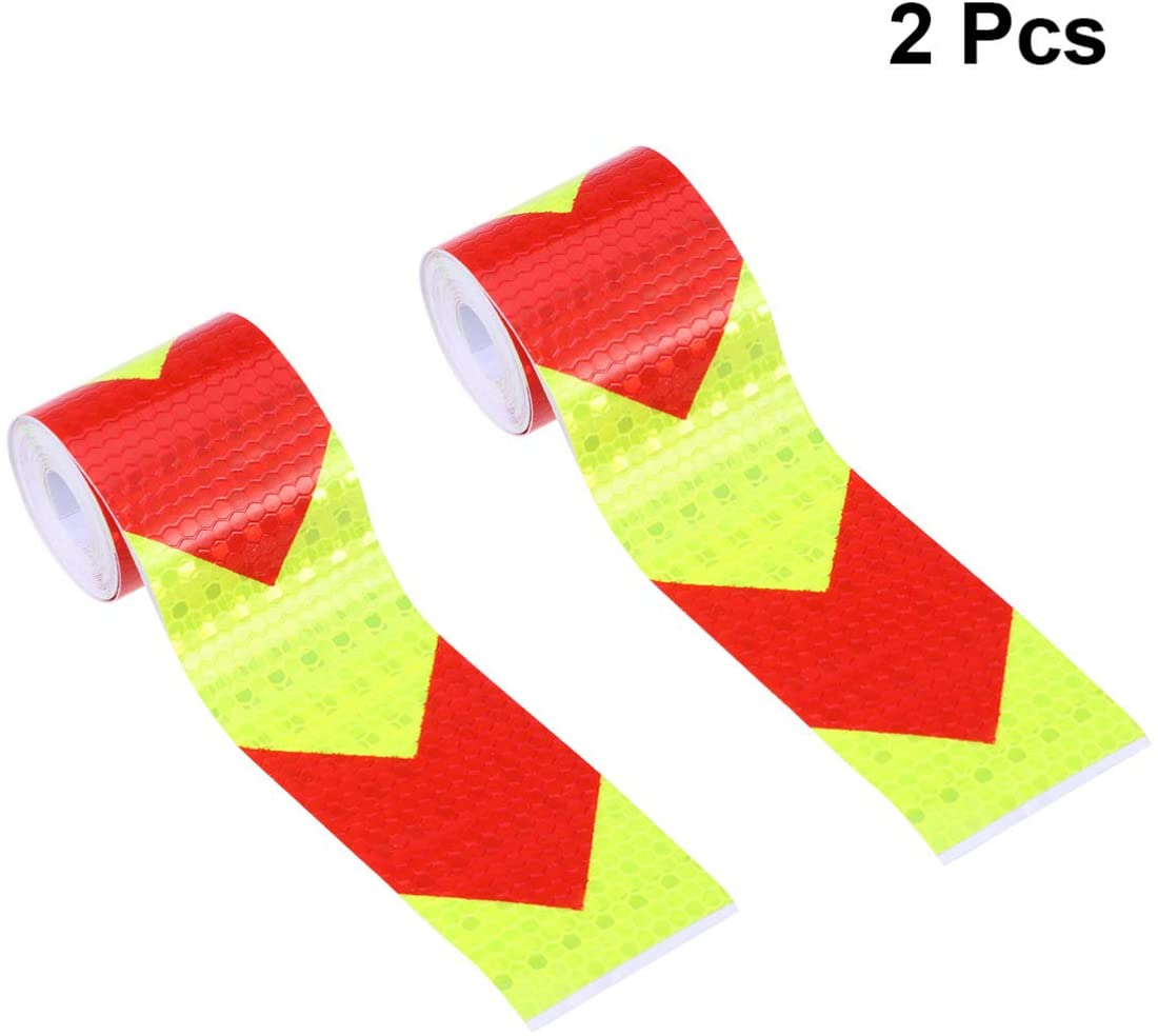 Vosarea 2pcs Car Reflective Tapes,Fluorescent Arrow Sticker Safety Caution Tape Warning Strip Lattice Reflective Film Body Sticker Warning Tape (Yellow and Red )