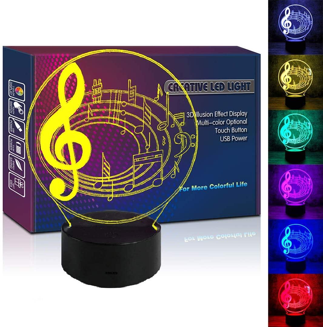HIPIYA Musical Note LED 3D Lamp Illusion USB Multi Color Music Score Lover Night Light Birthday Gift for Teen Singer Boy Girl Man Kids Bedroom Social Room Concert Decor (Music Score)