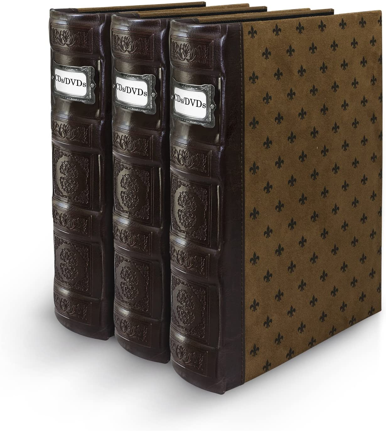 Bellagio-Italia Tuscany Chestnut DVD Storage Binder Set - Stores Up to 144 DVDs, CDs, or Blu-Rays - Stores DVD Cover Art - Acid-Free Sheets