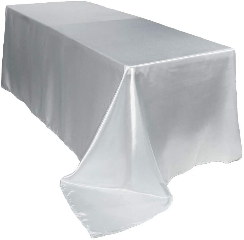 Your Chair Covers - 90 x 132 inch Rectangular Satin Tablecloth White, Rectangle Shiny Satin Table Linens for 6 ft Rectangular Tables