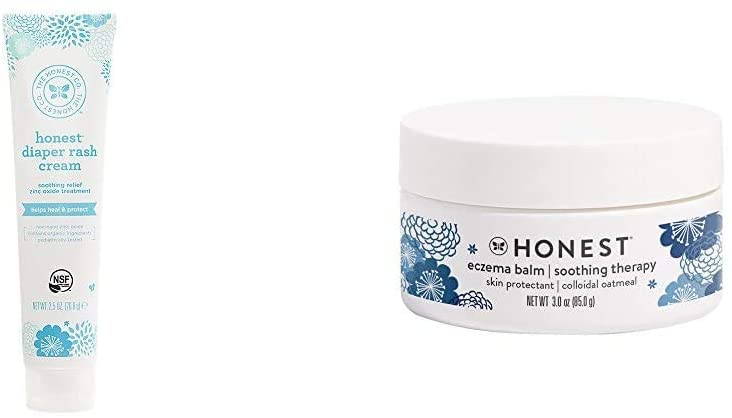 The Honest Company Diaper Rash Cream with Organic Shea Butter, Jojoba, Tamandua & Coconut Oil Organic Plant, 2.5 oz. and The Honest Company Eczema Soothing Therapy Balm, 3.0 Fl. Oz
