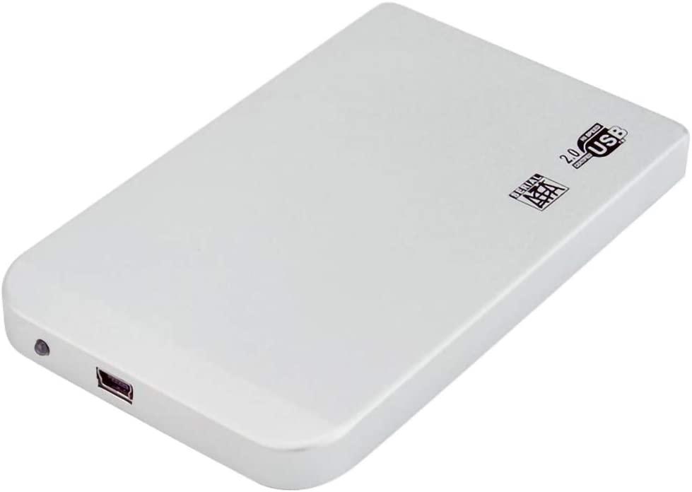 JMT 2.5 inch Hard Disk Drive SATA to Mini USB 2.0 Enclosure Tool Free Aluminum Alloy HDD Case Portable External SSD Box Support 2TB (White)