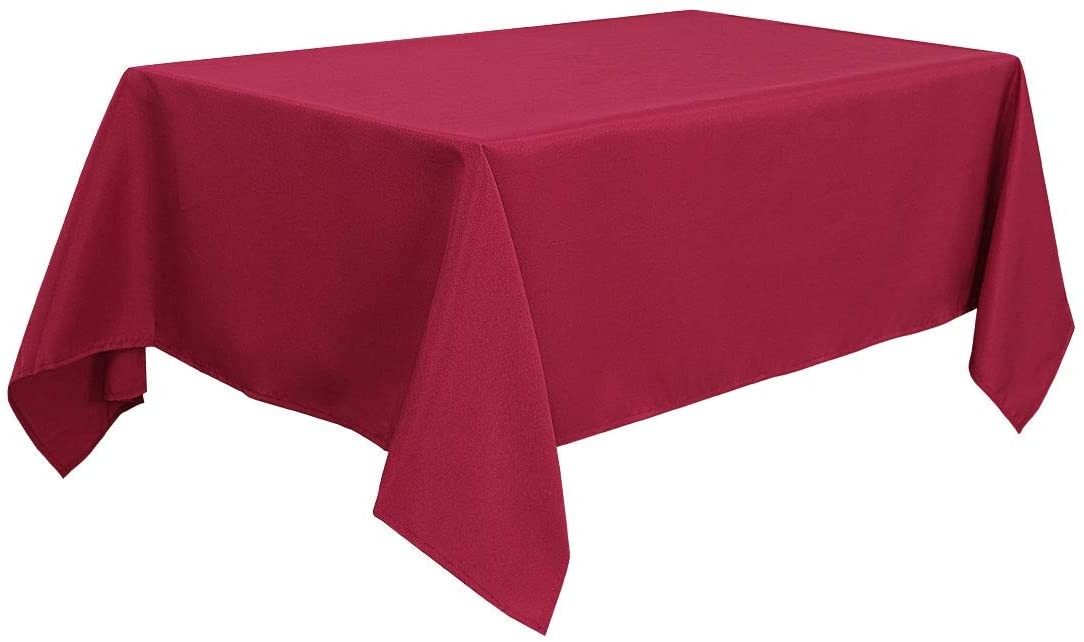 PiccoCasa Rectangle Tablecloth - Stain Resistant Wrinkle Resistant Red Table Cloths, Dining Table Cover for Wedding Picnic Indoor Outdoor Table 60x84 Inches