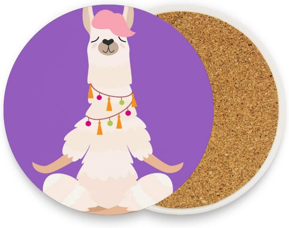 Coasters for Drinks Yoga Llama Purple Round Coaster Set