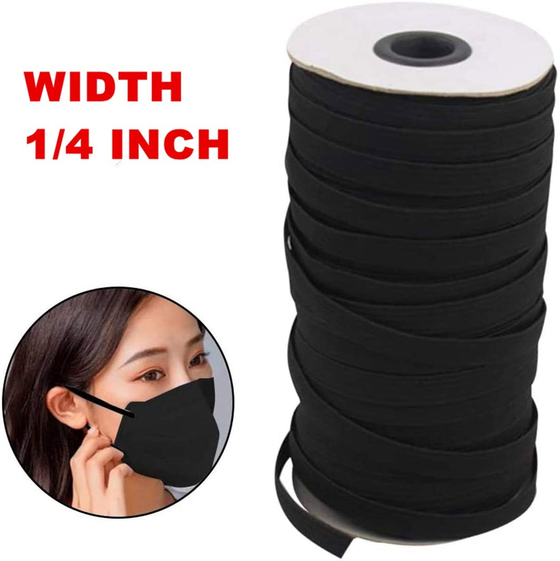 1/4 inch Elastic for Sewing Bands,Elastic Rope/Elastic Cord Heavy Stretch High Elasticity Knit Elastic Band for Sewing Crafts DIY, Bedspread, Cuff (Black, 200Yards)