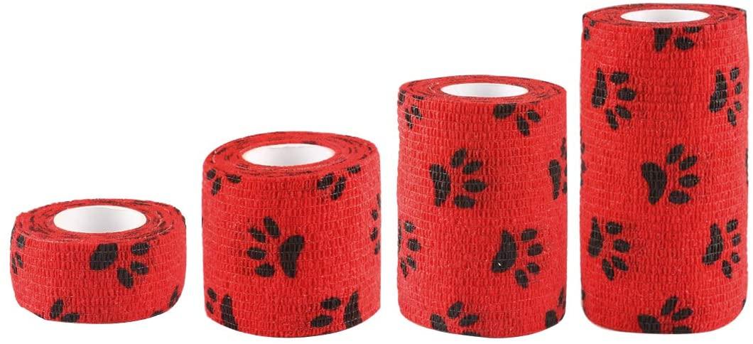 Andux Land Self-Adhesive Bandage 4 Rolls Cohesive Wrap Bandaging Tape ZZTXBD-04 (Red Black Dog Claw)