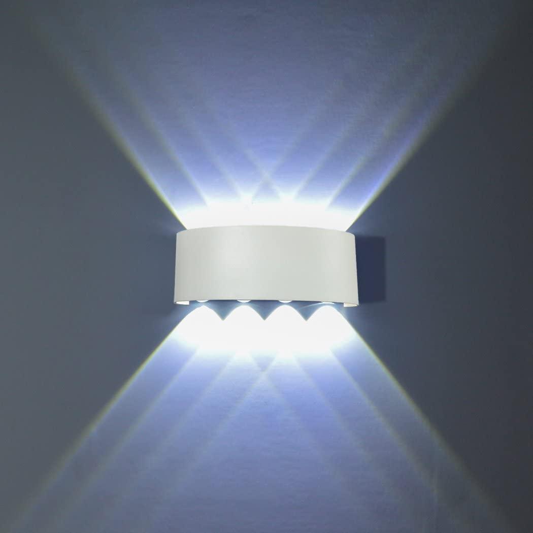 FLYDEER Modern Wall Sconce Lights 8W LED Room Wall Lights Up Down Aluminium Wall Lighting Lamps for Living Room Bedroom Corridor (White-White Light)