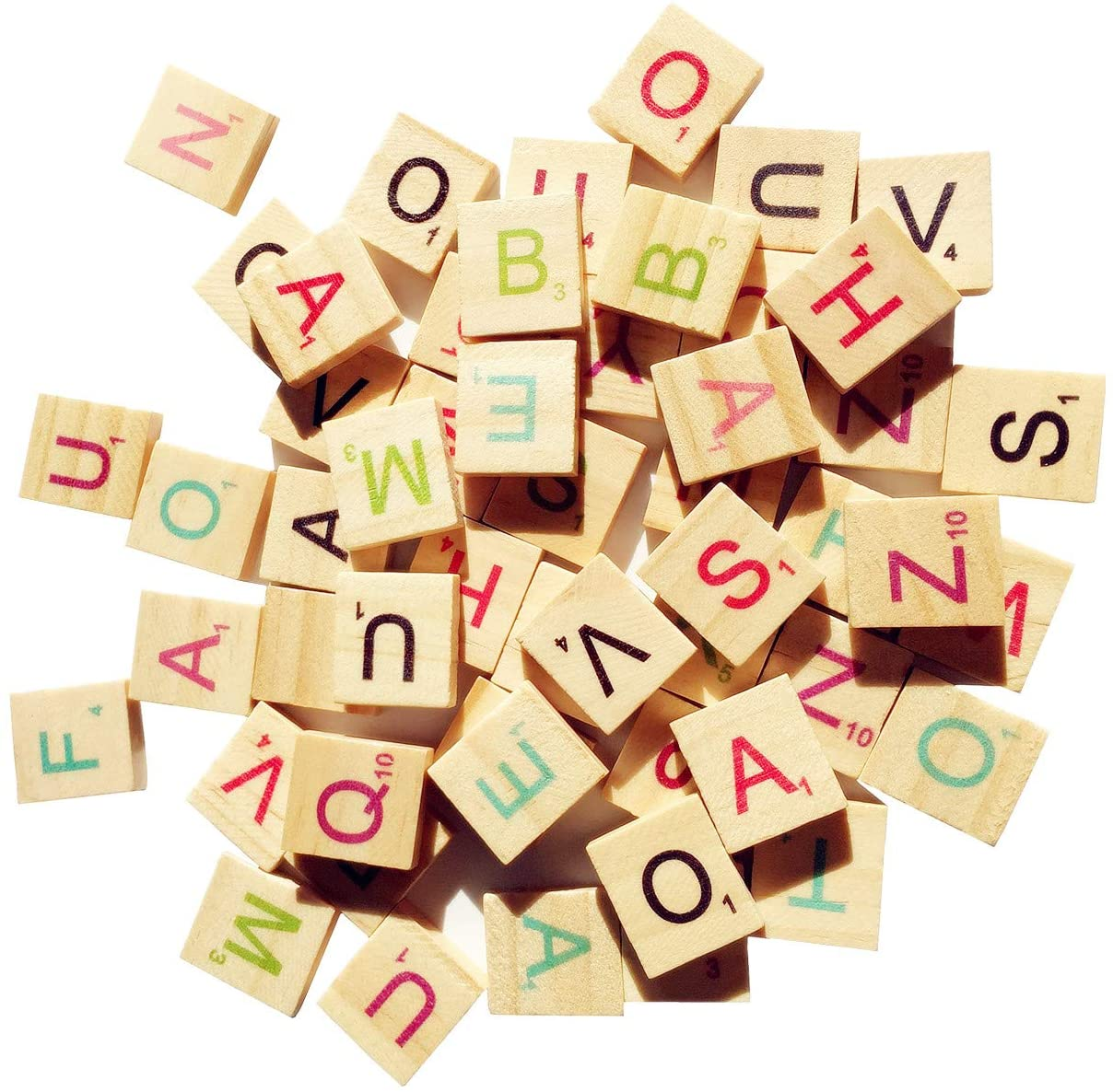 Abbaoww 300 Pcs Wood Colorful Scrabble Tiles Letter Tiles Wood Pieces for Crafts, Pendants, Spelling and Scrapbook