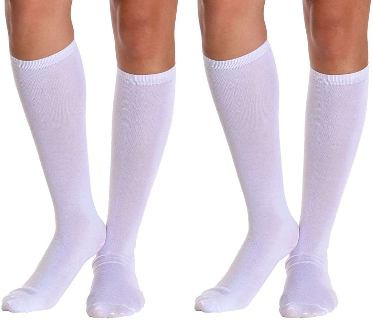 Sirosky Compression Socks Graduated Anti Fatigue Support Sock Feet Pain Relieving Ache Relief for Men Woman Over the Calf Below Knee High (White : 2 Pair, Large/X-Large)