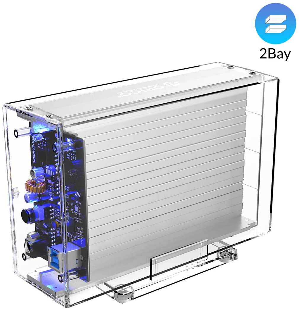 ORICO Dual-Bay 3.5inch Hard Drive Enclosure USB3.0 to SATA III Portable Transparent Case for HDD SSD with Aluminum Heat Dissipation Board Support UASP Max 32TB(16X2) Tool-Free Installation- 3259U3