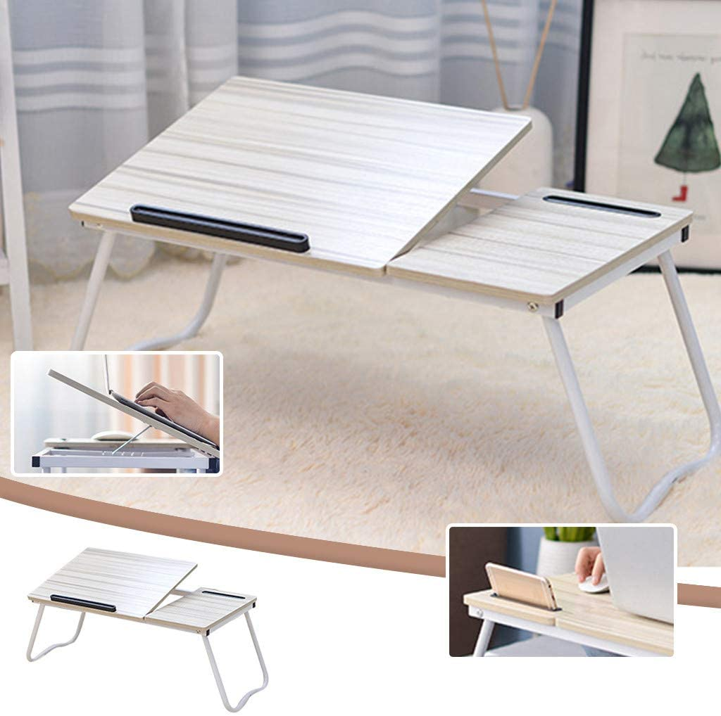 Folding Laptop Desk with Adjustable Tilting Top Multi Function Table for Bed & Sofa, Bed Desk, Laptop, Writing, Study, Reading Stand (64x36cm, B)