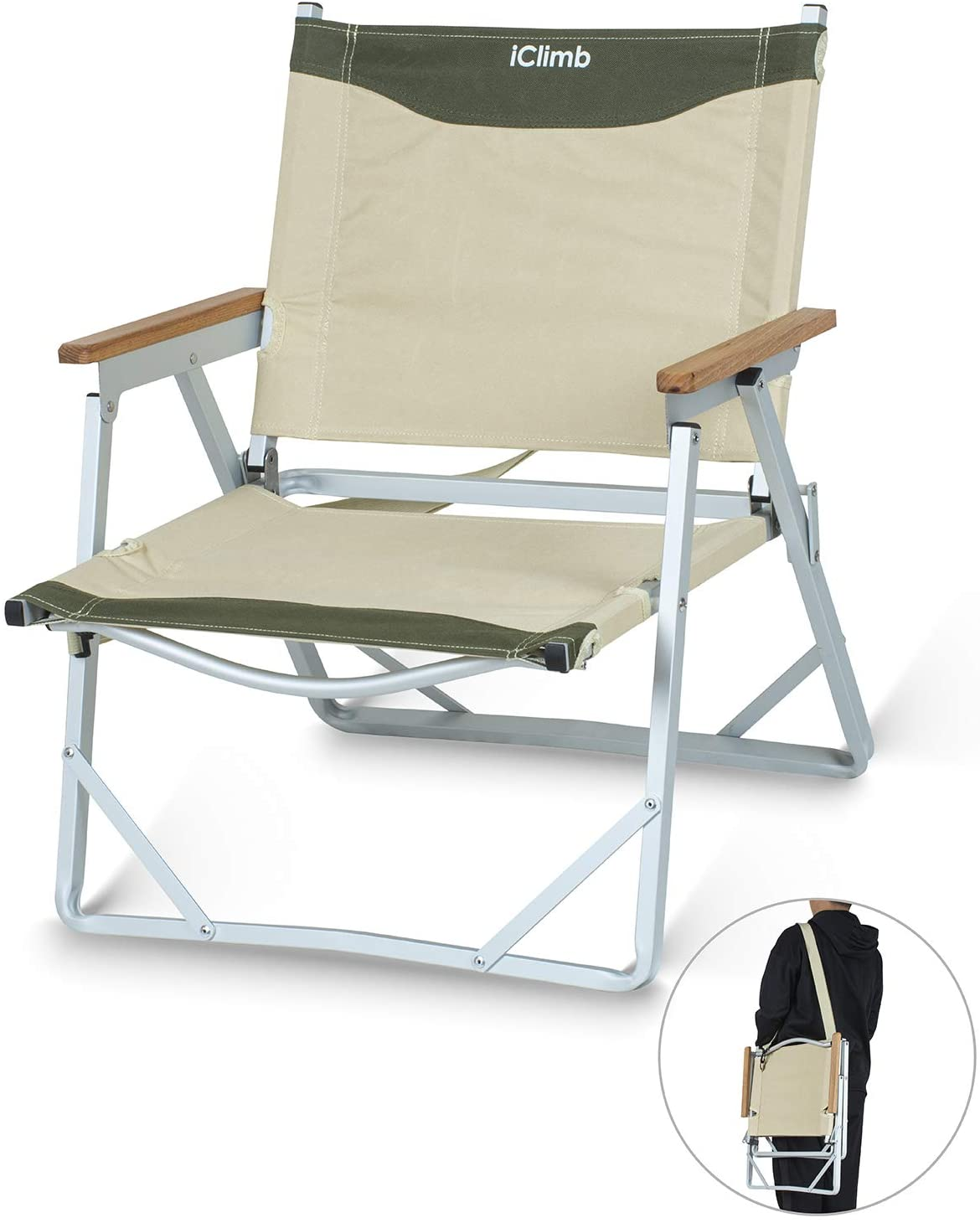 iClimb Ultralight Low Beach Concert Camping Folding Chair with Handle and Shoulder Strap (Beige)