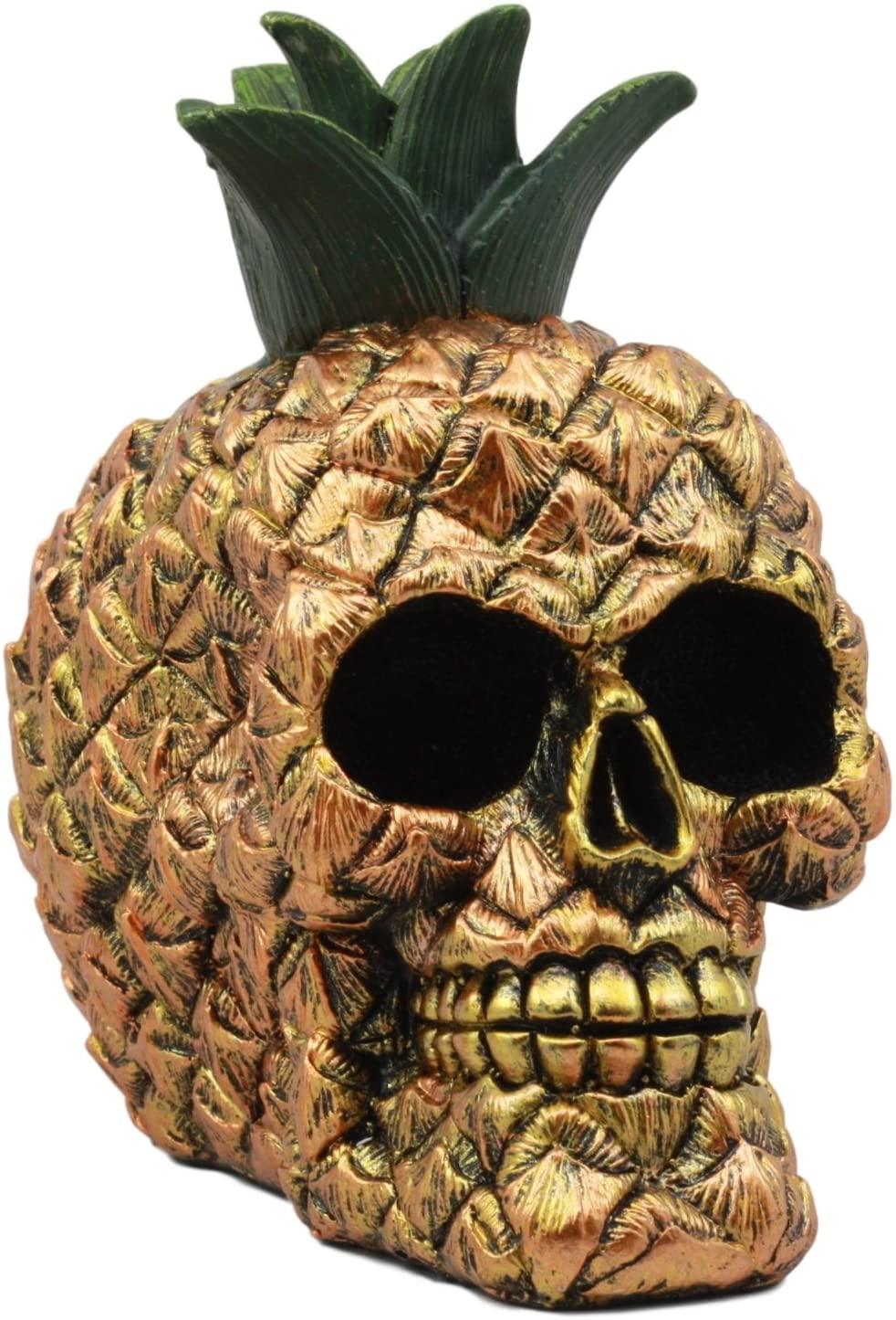 Ebros Hawaiian Tropical Pineapple Golden Skull Figurine 6