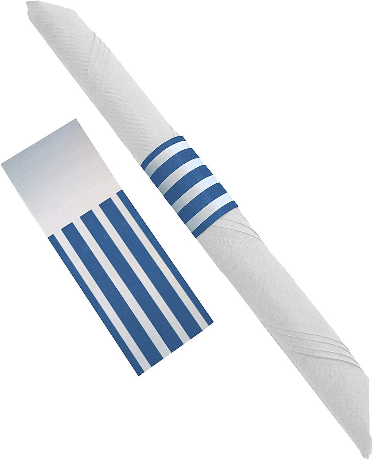 The French Concept Decorative Self-Adhesive Paper Napkin Bands (Blue and White, 20)