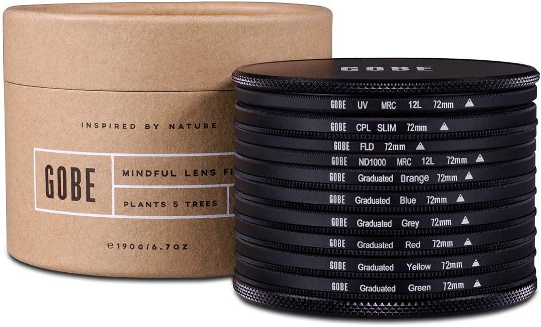Gobe 72mm UV, Circular Polarizing, FLD, ND1000 + Graduated Orange, Blue, Grey, Red, Yellow, Green Lens Filter Kit (1Peak)