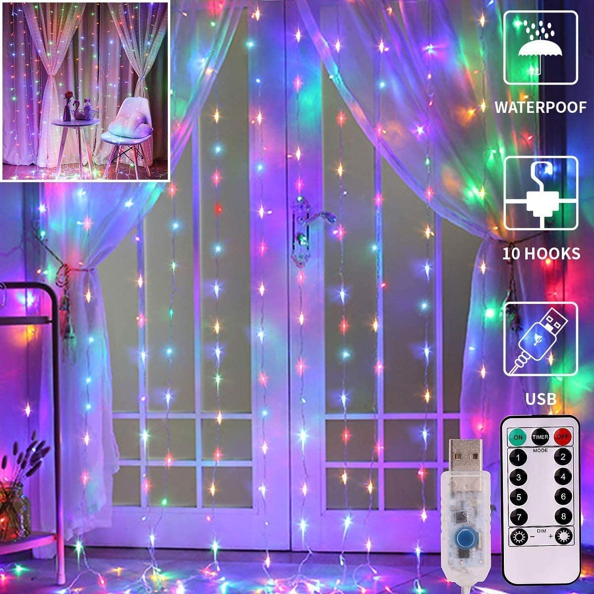 Meliven Curtain Lights, 8 Colors Curtain String Lights USB Powered, 9.8Ftx9.8Ft 300 LED Fairy String Lights with Remote, Indoor Outdoor Decorative Twinkle Lights for Bedroom, Patio, Party Wedding