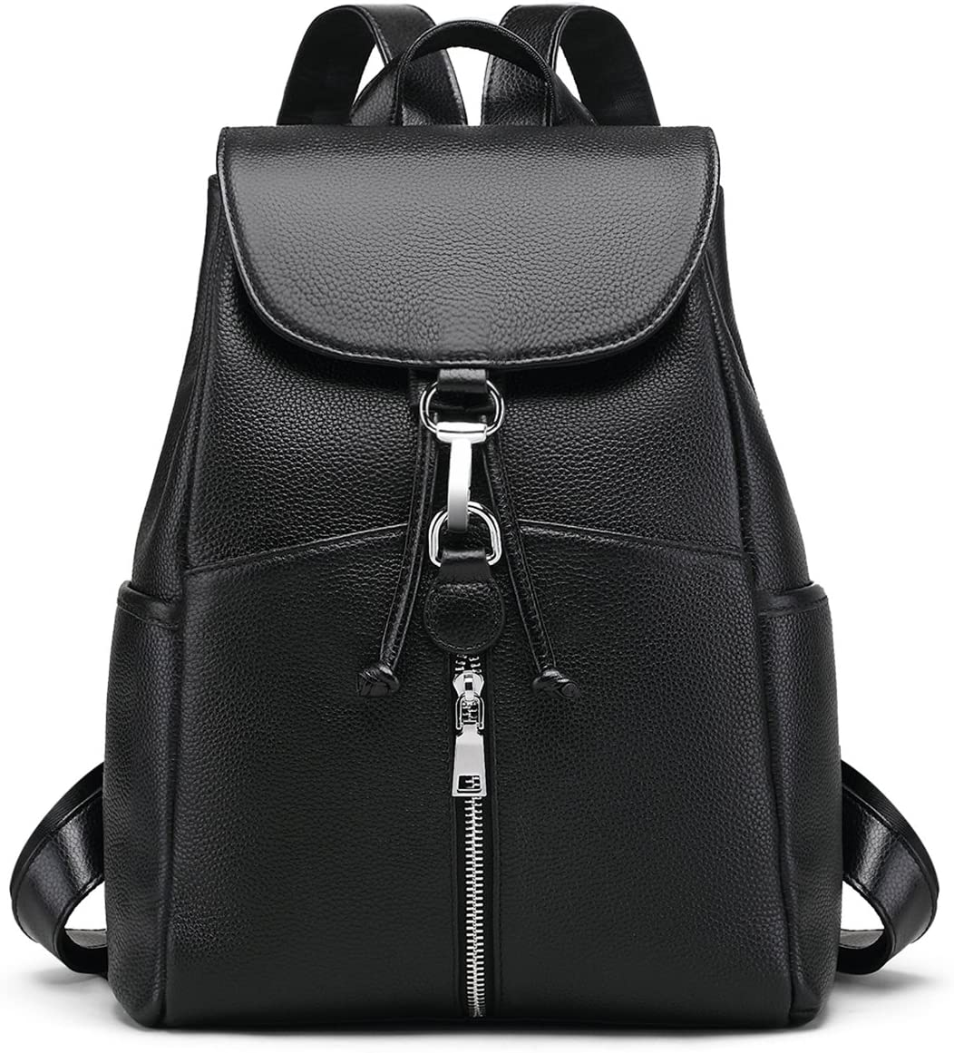 New Women Real Genuine Leather Backpack Purse vintage SchoolBag by Coolcy (Black)