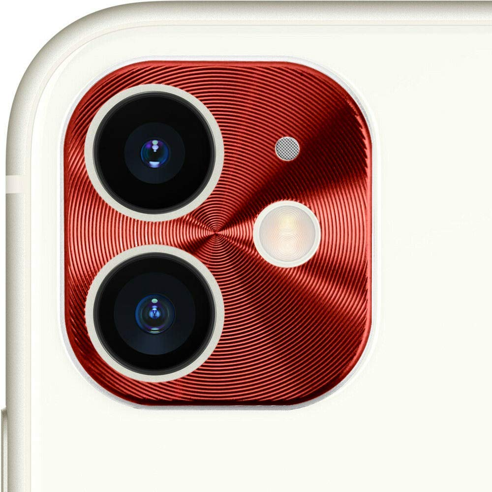 V-8 Camera Cover Panel Protector Cover for iPhone 11 6.1 Premium Aluminum Alloy Ultra-Thin, Lightweight, Scratch-Resistant Plate Panel Back Rear Camera Ring Protective Shield Cap (Red)