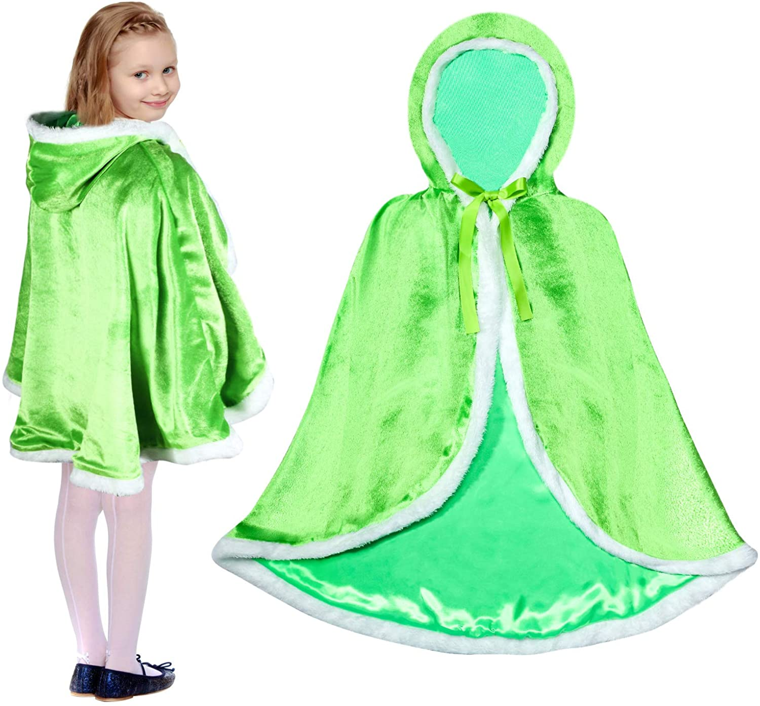 Syhood Princess Hooded Cape Cloak for Girls Faux Fur Trimmed Costume with Hat