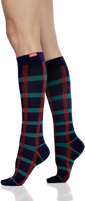 VIM & VIGR Cotton 15-20 mmHg Compression Socks for Women & Men (Navy & Teal Block Plaid, Medium/Large Wide Calf)