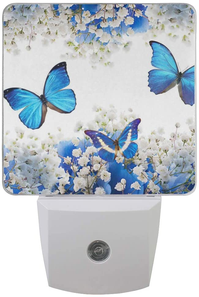 Plug-in LED Night Light with Dusk-to-Dawn Sensor Butterfly Night Lights Plug into Wall Automatic Lights Motion Sensor for Indoors 2 Set