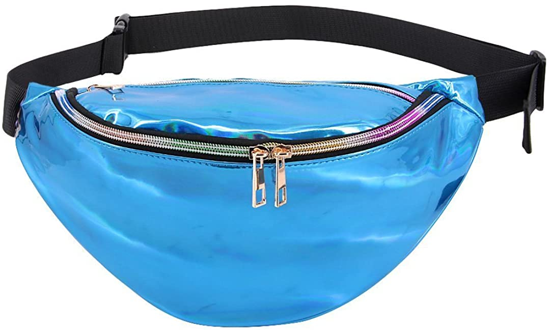 Orita Waterproof Hologram PU Waist Bag Outdoor Fanny Pack Laser Bum Bag Travel Beach Purse for Raves Music Festival (Blue 1)