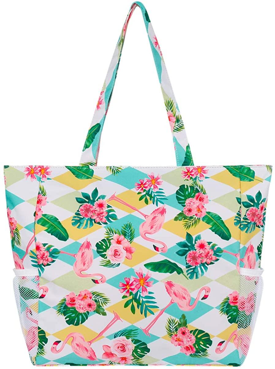 TENDYCOCO Beach Bags for Women Tote Bag Tropical Flower Palm Leaf Flamingo Printed Shoulder Bag Waterproof Beach Tote Large