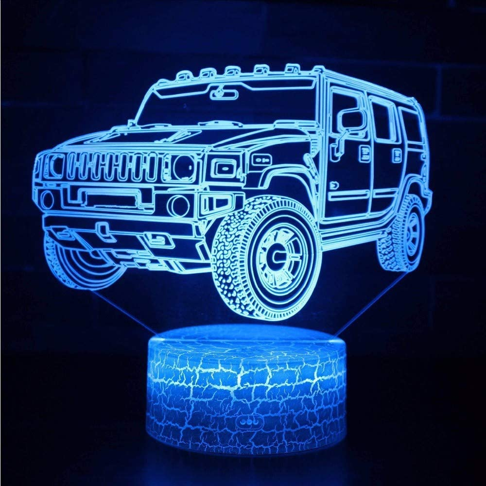 Creative 3D Car Night Light 7 Colors Changing USB Power Touch Switch Decor Lamp Optical Illusion Lamp LED Table Desk Lamp Children Kids Brithday Christmas Gift