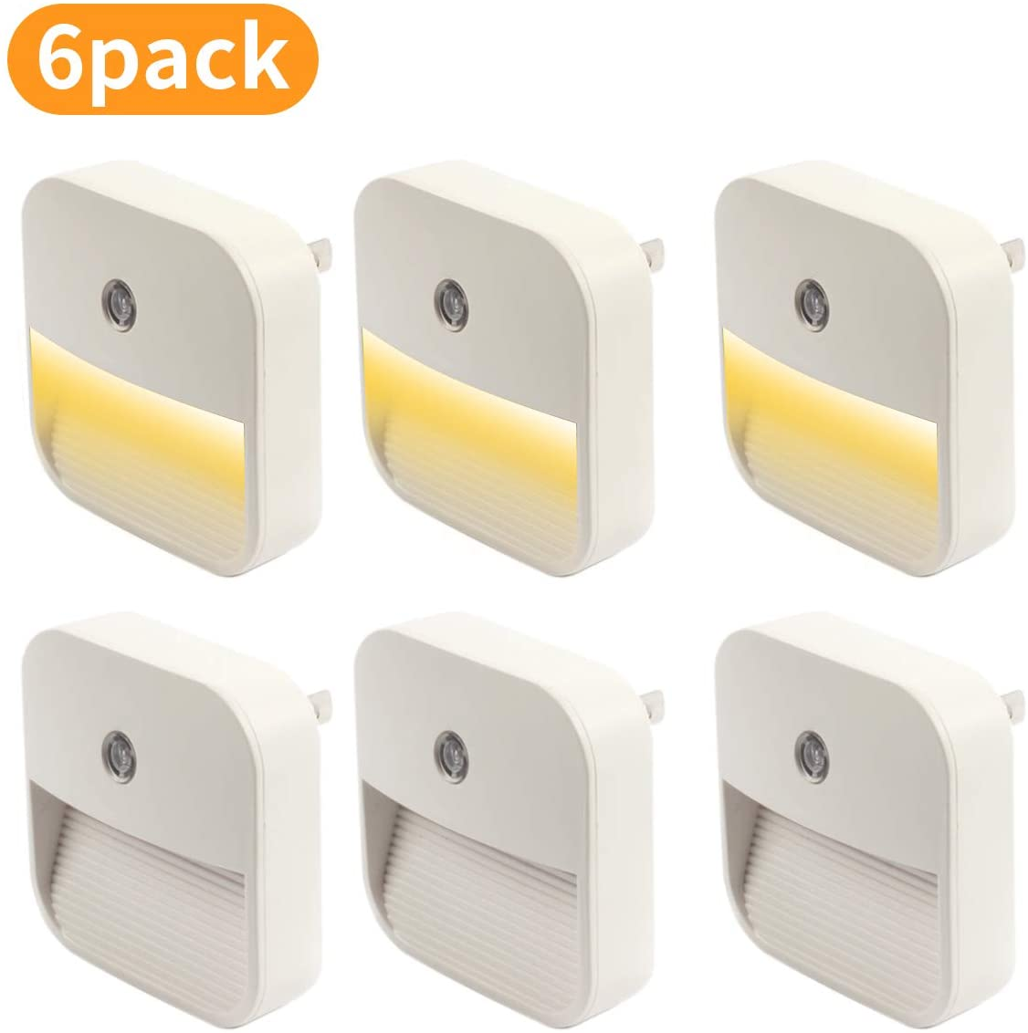 Alitade LED Night Lights Plug Into Wall, Dimmable 6pcs LED Light 3000K with Dusk-to-Dawn Sensor for Kids, Bedroom, Nursery, Bathroom, Kitchen, Hallway, Stairs, Pack of 6