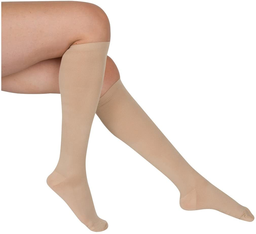 EvoNation Womens USA Made Graduated Compression Socks 15-20 mmHg Moderate Pressure Medical Quality Ladies Knee High Support Stockings Hose - Best Comfort, Circulation, Travel (Medium, Tan Beige Nude)