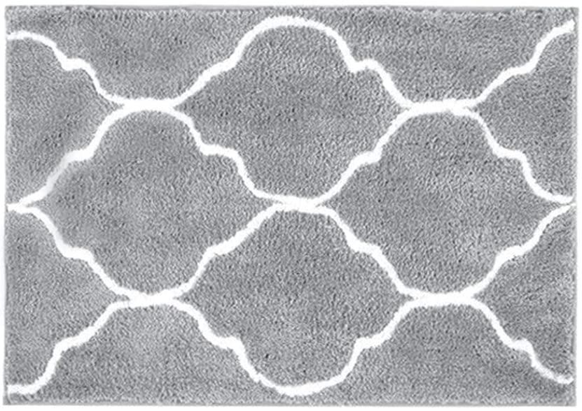 HEBE Bathroom Rug Microfiber Bath Rugs for Bathroom Non Slip Absorbent Bath Mats Floor Carpet Machine Washable Geometric Grey 18
