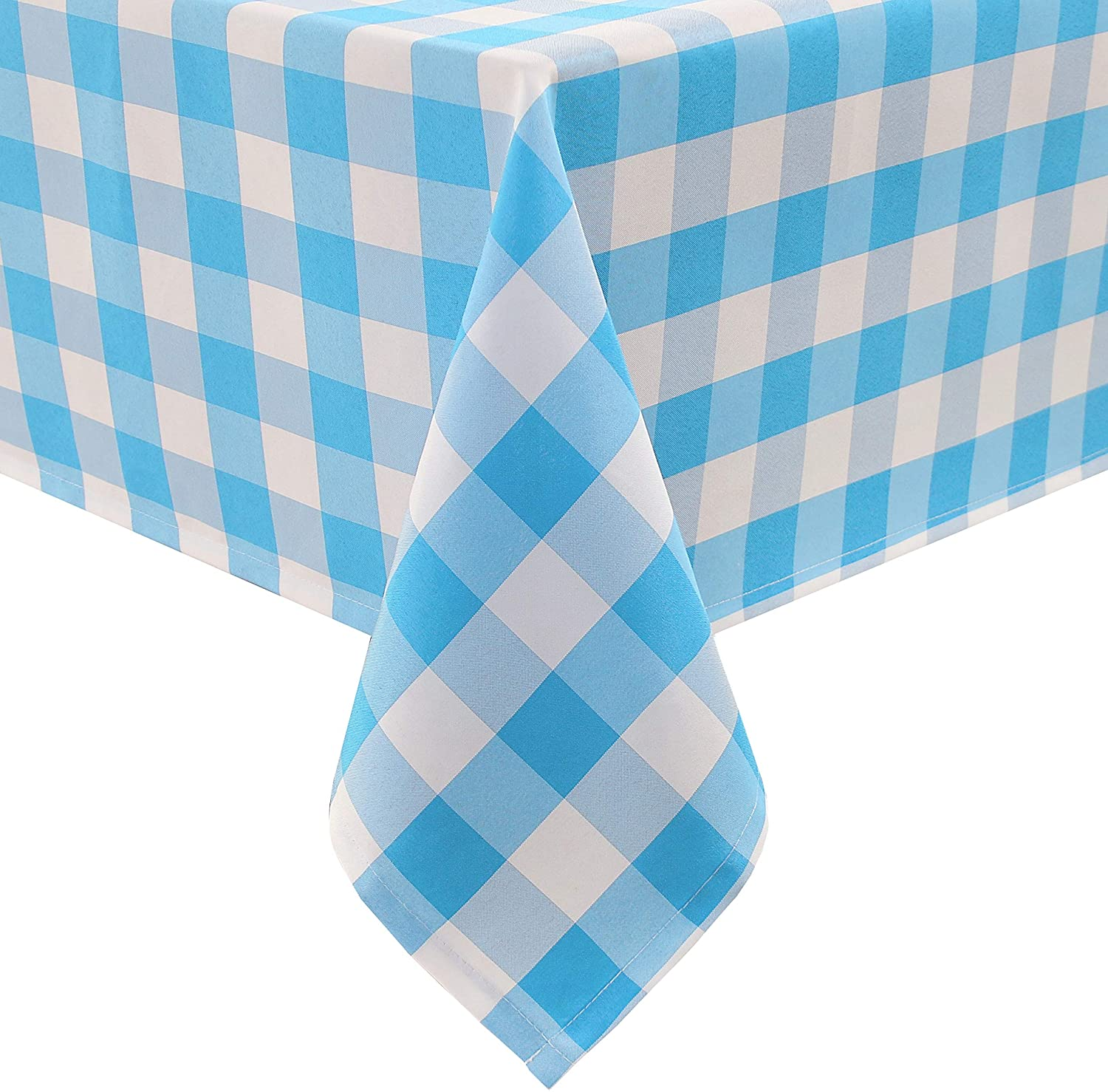 Hiasan Checkered Tablecloth Rectangle - Stain Resistant, Waterproof and Washable Table Cloth Gingham for Outdoor Picnic, Holiday Dinner, 60 x 120 Inch, Sky Blue and White