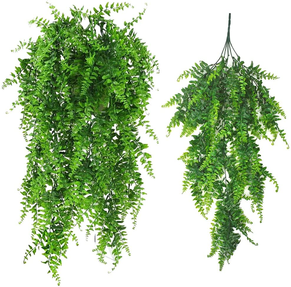 Artificial Plants Vines Boston Fern Persian Rattan Greenery Fake Ferns Hanging Plant Ivy Flowers Vine Outdoor UV Resistant Plastic Plants Vines for Wall Indoor Hanging Basket Jungle Party Decorations