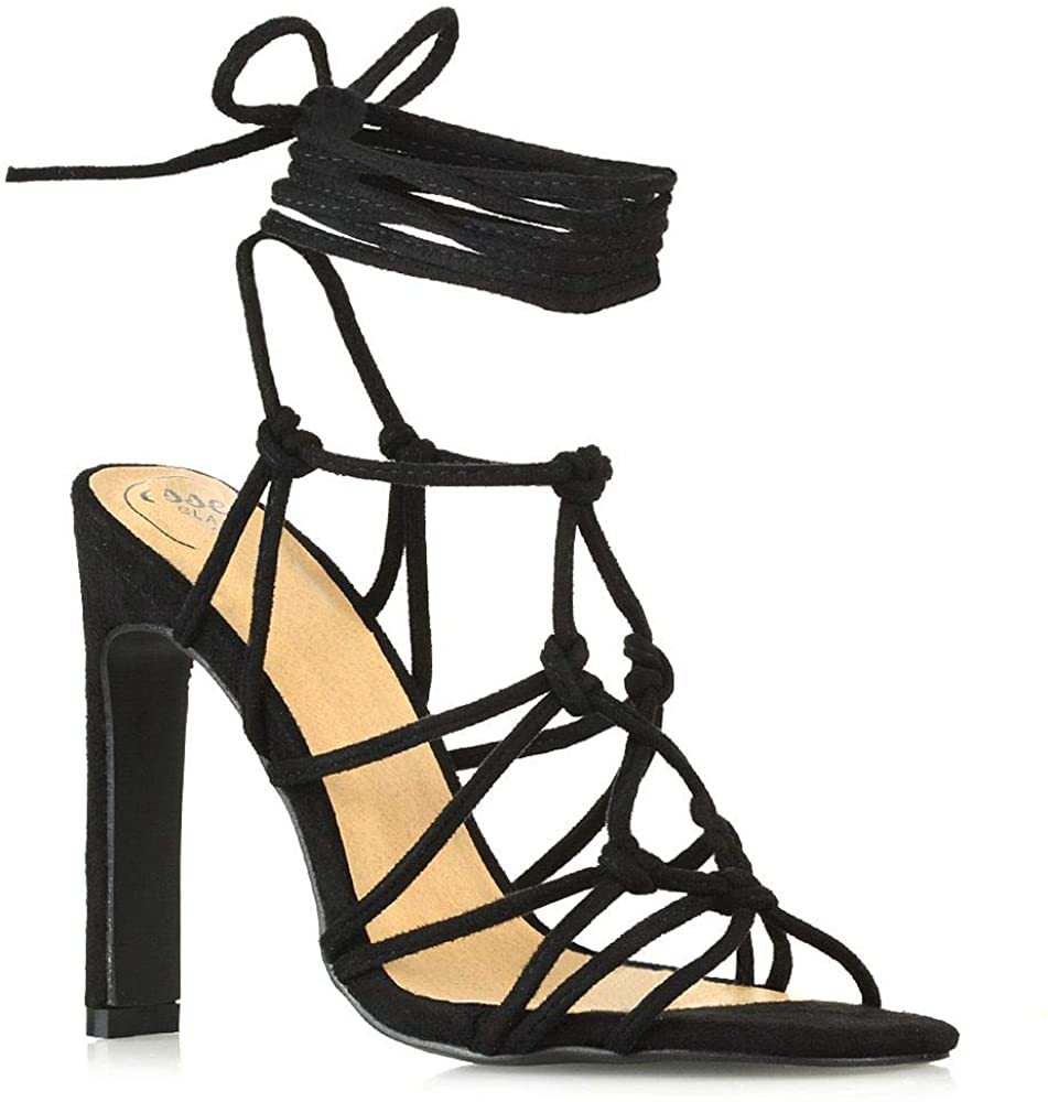 ESSEX GLAM Womens Lace Up Sandals Ladies