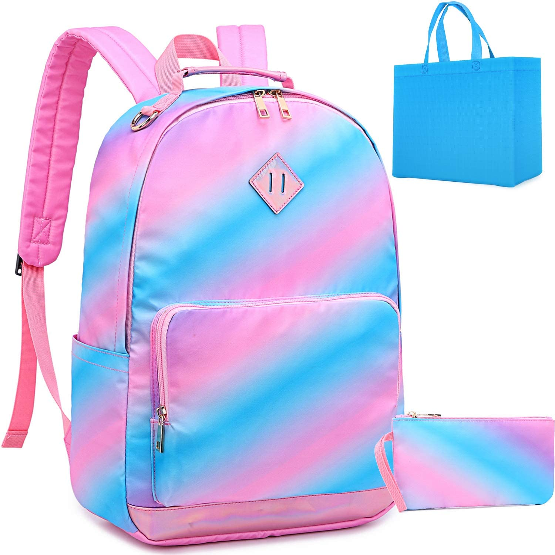 Girls Rainbow Backpack For Kindergarten Perschool Bookbags ligtweigt Daypack Elementary School Bag for Kids Blue