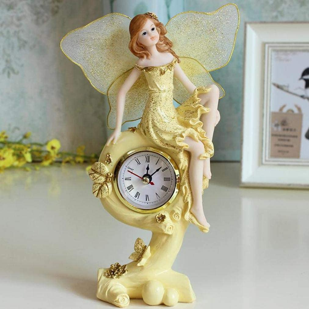 Europe Style Clock Ornaments Angel Figurine Wedding Gift Flower Fairy Craft Home Decor Accessory Elf Miniatures Statue Good Gift for Friend