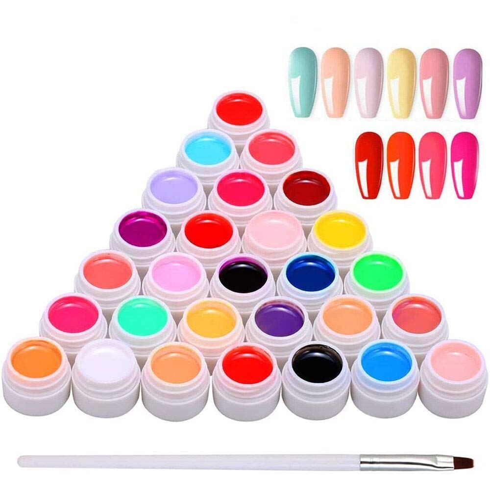 Gel Polish Set, Anself 30 Colors x 8ML Nail Art Pigment Poly Gel Builder Polish Solid Glue Extension Gel with One Nail Brush for Nail Art DIY Design
