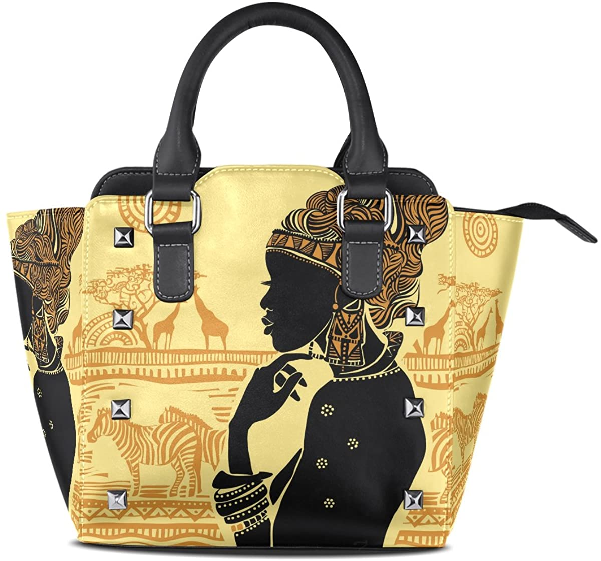 Use4 Tribal African Women Elephant Rivet PU Leather Tote Bag Shoulder Bag Purse