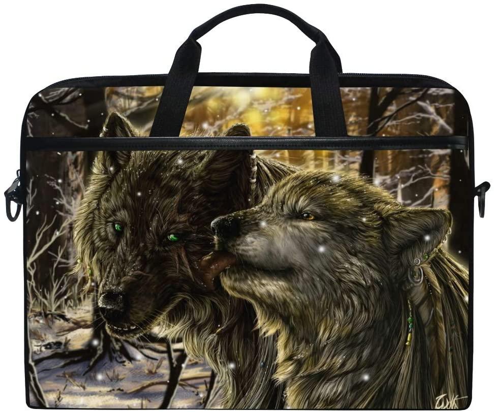 ALAZA Cool Wildlife Wolf 15 inch Laptop Case Shoulder Bag Crossbody Briefcase Messenger Sleeve for Women Men Girls Boys with Shoulder Strap Handle, for Her Him