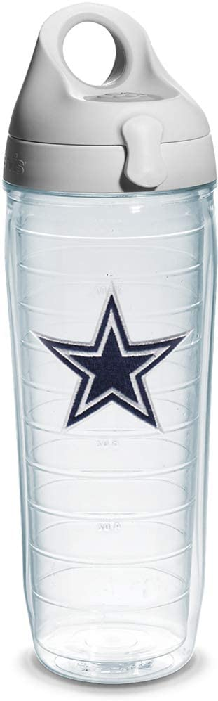 Tervis NFL Dallas Cowboys Emblem Individual Water Bottle with Gray lid, 24 oz, Clear