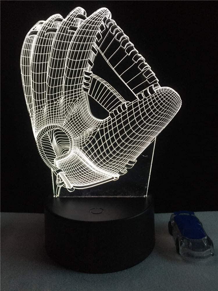 Sport Baseball Catcher Glove 3D Led Lamp Home USB Night Light Pitch Boy Gifts Bedroom Multicolor Party Table Decorative Lighting