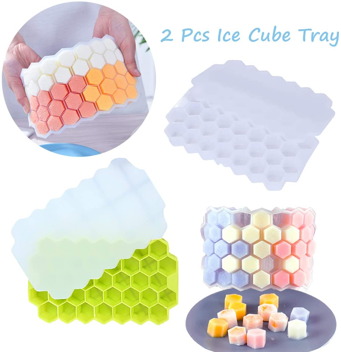 S SNUOY Silicone Ice Cube Tray with Lid for Freezer Ice Cubes Maker Silicone BPA Free 37-Ice Trays Stackable (2 Packs)