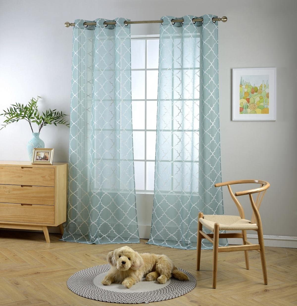 MIUCO Sheer Curtains Embroidered Trellis Design Grommet Curtains 63 Inches Long for Living Room 2 Panels (2 x 37 Wide x 63
