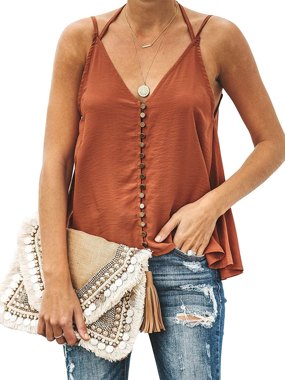 GAMISOTE Women's V-Neck Spaghetti Boho Button Down Camisoles Halter Backless Tank top Orange