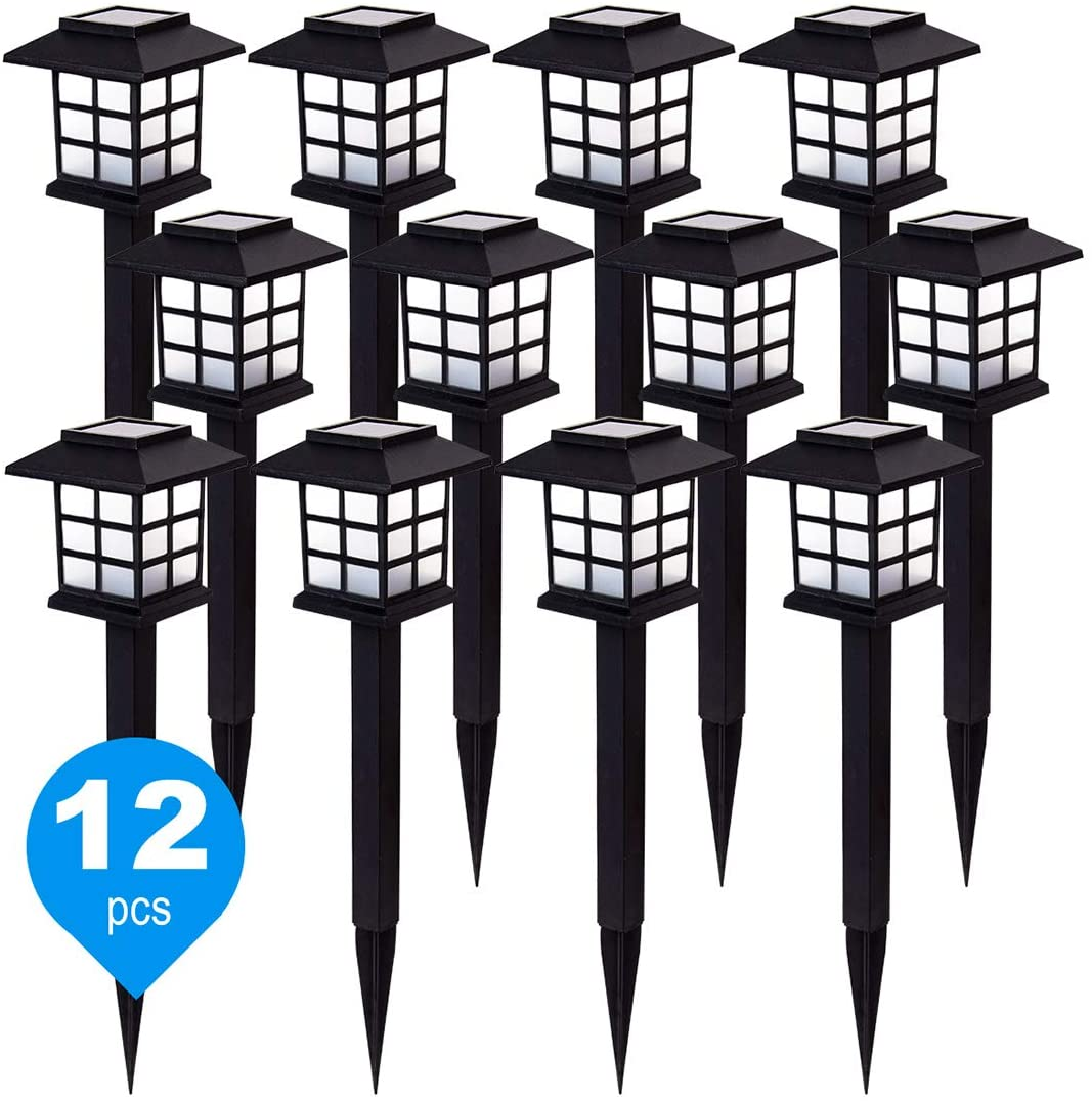 12 Pack Solar Path Lights, New LED White Solar Garden Light for Outdoor with IP44 Waterproof, Solar Pathway Light for Landscape, Driveway, Terrace, and Walkway, Yard. (White)