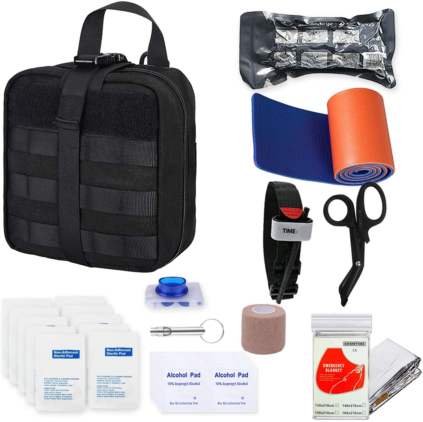 GRULLIN Survival First Aid Kit, 39 Pieces Tactical Molle EMT IFAK Pouch Emergency First Aid Survival Kits Trauma Bag Outdoor Gear for Camping Hiking Hunting Travel Car Adventures (Black)