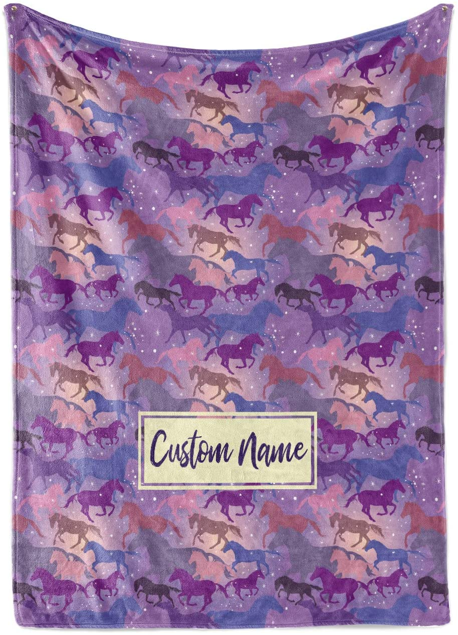 Personalized Galaxy Horse Pattern Fleece Throw Blanket - Blankets with Horses for Girls Kids Winter Warmth Bedding Saddle Up (Baby/Pet 30