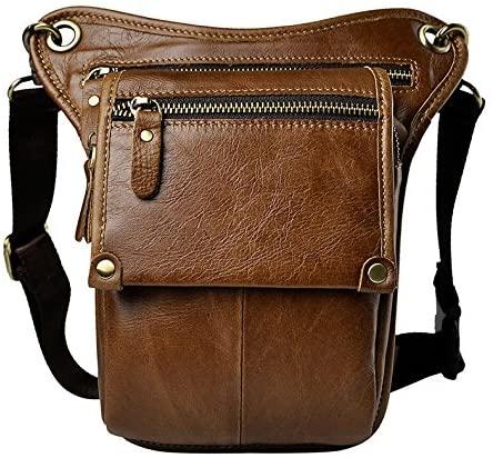 Genda 2Archer Genuine Leather Fanny Pack Waist Hip Purse Tactical Belt Bag (yellow)